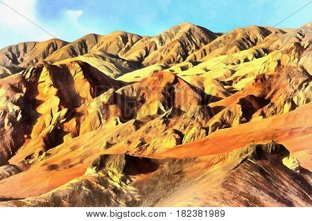 Colorful painting of Flaming Mountains, Xinjiang Uyghur Autonomous Region, China
