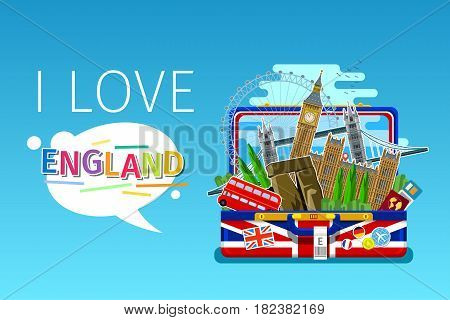 Concept of travel or studying English. English landmarks in open suitcase. Flat design, vector illustration