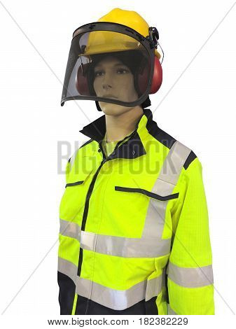 Man mannequin in protective clothes overalls and yellow helmet isolated over white background