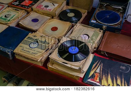 Moscow, Russia - March 19, 2017: Old vinyl records for gramophone of different music styles at a flea market