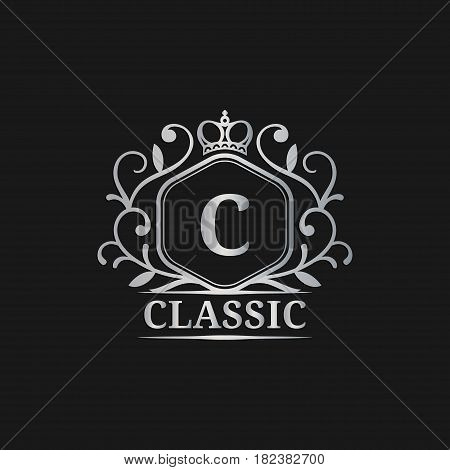 Vector monogram logo template. Luxury letter design. Graceful vintage character with crown illustration. Used for hotel, restaurant, boutique, jewellery invitation, business card etc.