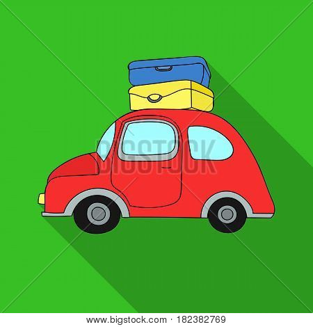 Red car with a luggage on the roof icon in flat design isolated on white background. Family holiday symbol stock vector illustration.