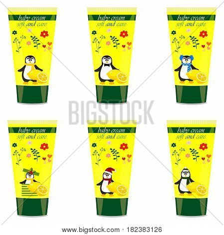 High quality original trendy vector Baby cream tube with kids design and pinguin, lemon illustration