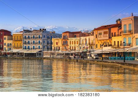 CHANIA, GREECE - APRIL 4, 2017 : Old Venetian harbour of Chania on Crete, Greece. Chania is the second largest city of Crete and the capital of the Chania regional unit.
