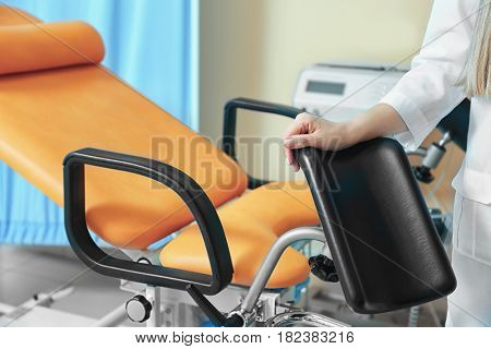Young doctor in gynecological room, closeup