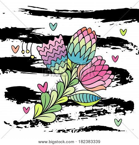 Hand drawn stylish flower vector. White background with brushstrokes