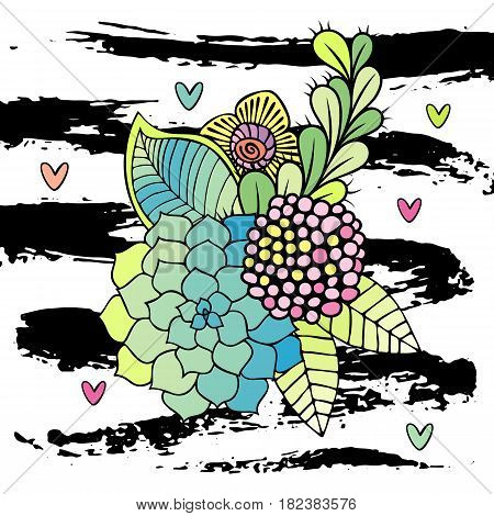 Hand drawn abstract floral bouquet vector. Succulent, rose and leaf on white background with brushstrokes