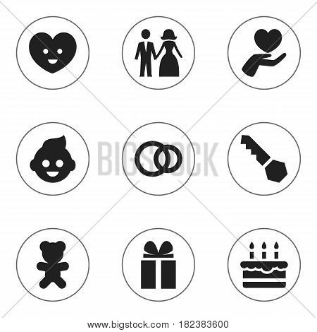 Set Of 9 Editable Kin Icons. Includes Symbols Such As Gift, Heart, Patisserie And More. Can Be Used For Web, Mobile, UI And Infographic Design.