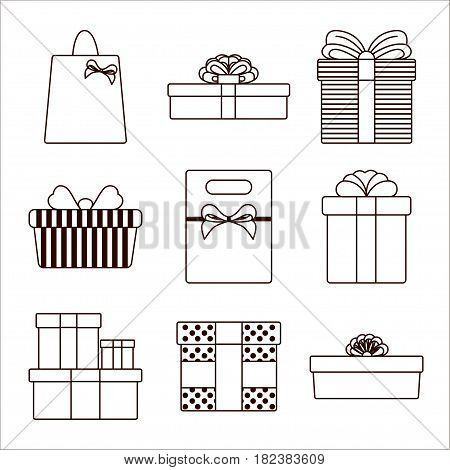 Gift box thin line Set of different black and white gift boxes in thin line