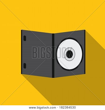 DVD with movie icon in flat style isolated on white background. Films and cinema symbol vector illustration.