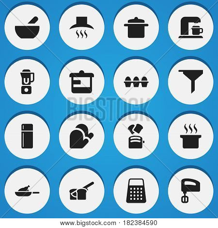Set Of 16 Editable Cook Icons. Includes Symbols Such As Shredder, Grill, Egg Carton And More. Can Be Used For Web, Mobile, UI And Infographic Design.
