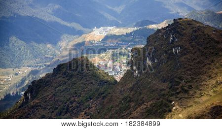Amazing view of highlands of Sapa District, Lao Cai Province, Vietnam.