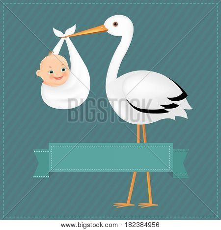 Poster Stork With Baby Boy