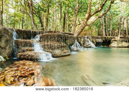 Waterfalls Huay Mae Kamin in dry season of Kanchanaburi Province