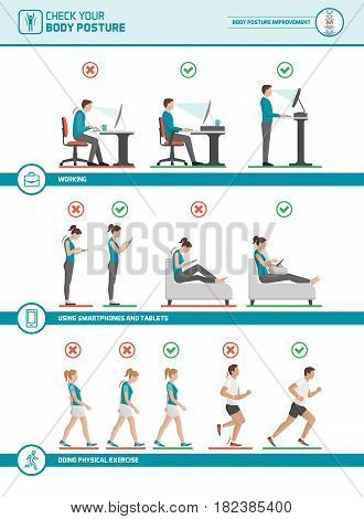 Body ergonomics infographic: improve your posture when working at desk using mobile devices walking and running