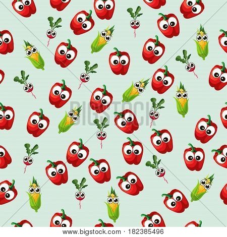 Very high quality original trendy seamless pattern with corn cob and red pepper, radish