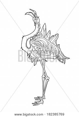 Graphic crystallizing demonic flamingo. Shabby bird with open skull and bones. Vector fantasy art isolated on white background. Coloring book page design for adults