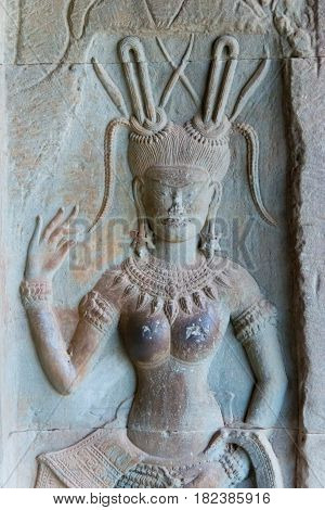 Siem Reap, Cambodia - Feb 3 2015: Relief At Angkor Wat. A Famous Historical Site(unesco World Herita