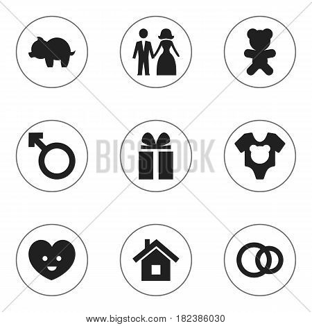 Set Of 9 Editable Relatives Icons. Includes Symbols Such As Home, Man Emblem, Gift And More. Can Be Used For Web, Mobile, UI And Infographic Design.