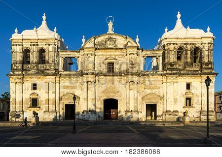 Leon Nicaragua - April 12 2014: Facade of the Cathedral of Leon (Our Lady of Grace Cathedral) in Nicaragua Central America