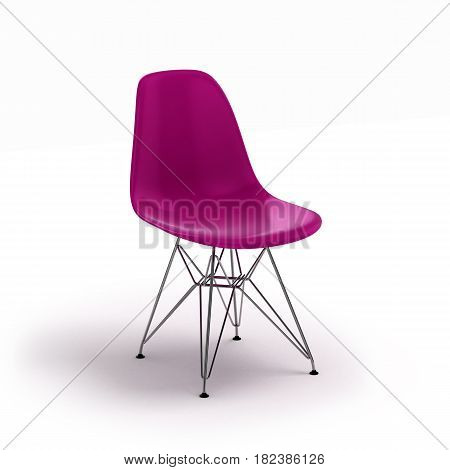 Purple Chair Isolated On White Background 3D Render