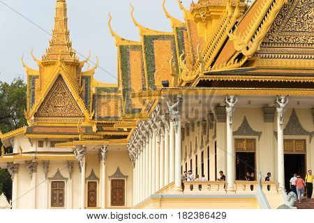 Phnom Penh, Cambodia - Jan 30 2015: Royal Palace. A Famous Historical Site In Phnom Penh, Cambodia.
