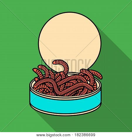 Tincan full of worms icon in flat design isolated on white background. Fishing symbol stock vector illustration.