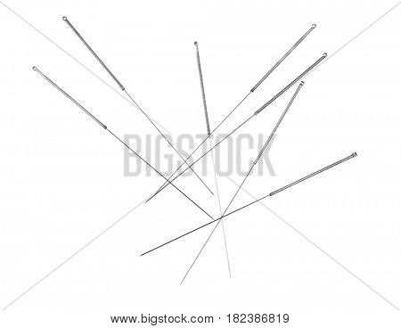 Needles for acupuncture on white background