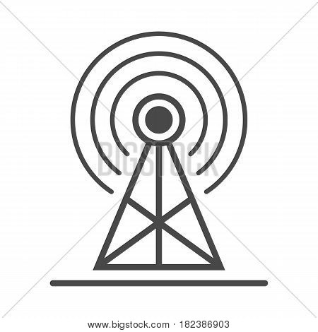 Radio advertisement icon vector illustration isolated on white background. Social media marketing sign, radio tower broadcast advertising linear pictogram.