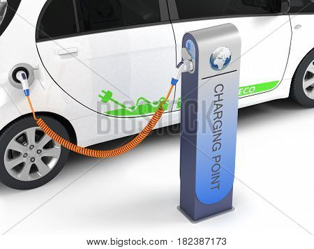 Electric Car In Charging Station On White Background 3D Illustration