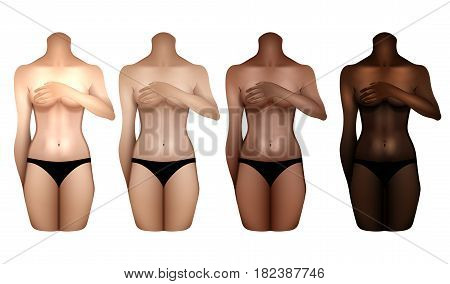 Girls with different skin colors covering their chests with hands. Woman bodies colledtion in black lingerie. Front view. Vector template for tattoo design isolated on white background