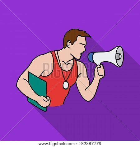 Personal trainer icon in flat style isolated on white background. Sport and fitness symbol vector illustration.