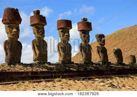 Moai statue at the Anakena beach, Easter Island, Chile
