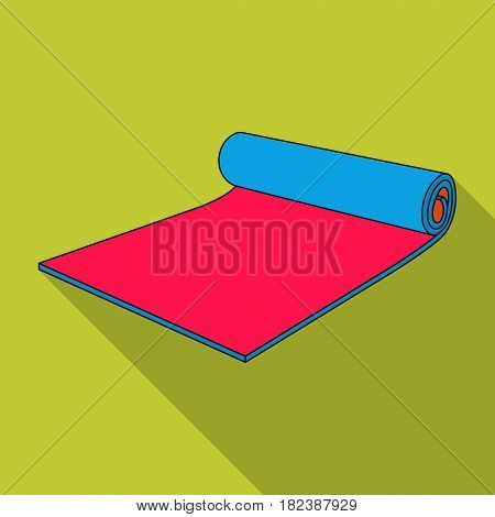 Fitness mat icon in flat style isolated on white background. Sport and fitness symbol vector illustration.