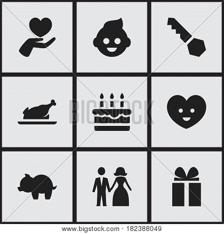 Set Of 9 Editable Family Icons. Includes Symbols Such As Gift, Soul, Patisserie And More. Can Be Used For Web, Mobile, UI And Infographic Design.