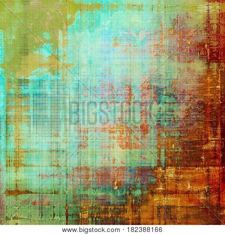 Vintage ancient background or texture with grunge decor elements and different color patterns: yellow (beige); brown; green; pink; blue; red (orange)