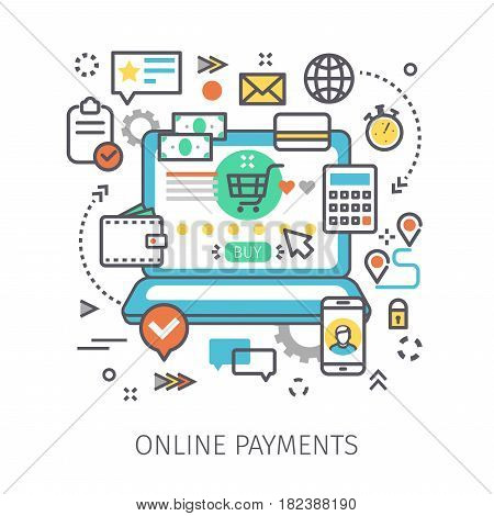 Concept of online payments. Open notebook with symbol of payment on the screen and icons in the style of line art. Flat design, line art vector illustration