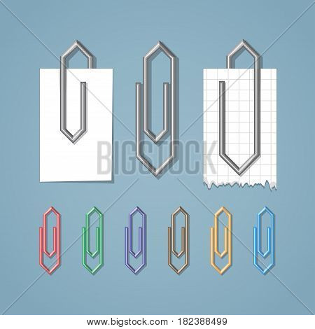 Metal paper clips for attaching a note or binding sheets. Business work documents in the office study. Isolated set in flat style vector illustration