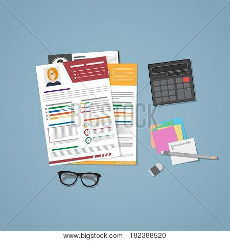 A few CVs for hiring in flat style. Managers workplace for recruiting staff with notes. Resume of different people on desk. The concept of hiring for work.