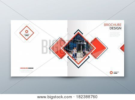 Square Brochure design. Corporate business template for rectangle brochure, report, catalog, magazine. Corporate Business Annual Report Cover, write brochure or flyer design