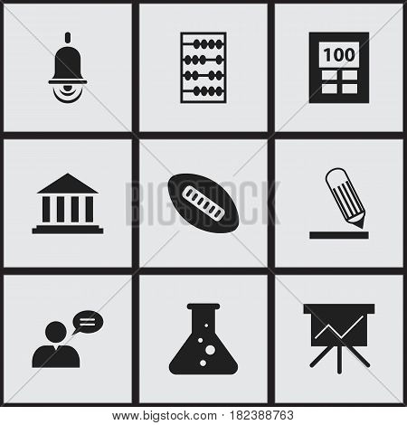 Set Of 9 Editable Graduation Icons. Includes Symbols Such As Calculator, Chart Board, Museum And More. Can Be Used For Web, Mobile, UI And Infographic Design.