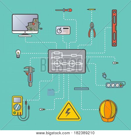 Electricity engineering infographic vector illustration. Electrician professional instrument, repair and maintenance concept. Safety helmet, multimeter, electronic circuit, spirit level, power strip