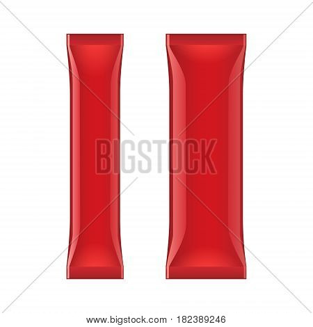 Red Blank Foil Packaging Stick Medicine Drugs Or Chewing Gum, Coffee, Salt, Sugar, Spices, Sachet, Sweets, Candy. Isolated Mock Up Template Ready For Your Design. Product Packing Vector EPS10