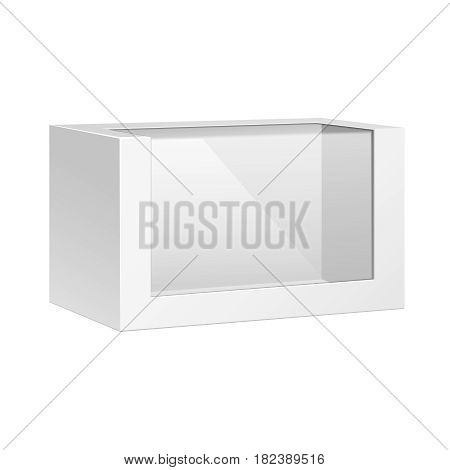 White Horizontal Product Package Box With Window. Blank On White Background Isolated. Mock Up Template Ready For Your Design. Product Packing Vector EPS10