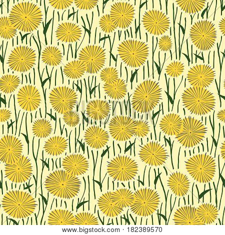 Seamless abstract pattern of drawings of yellow dandelion flowers.