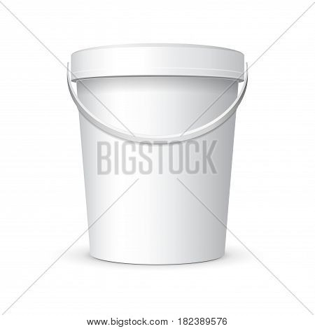 White Mock Up Food Plastic Tub Bucket Container  With Handle, Lid Cap For Dessert, Yogurt, Ice Cream, Sour Cream Or Snack. Ready For Your Design. Product Packing Vector EPS10