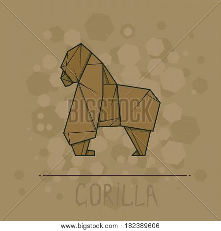 Vector simple illustration paper origami of gorilla.