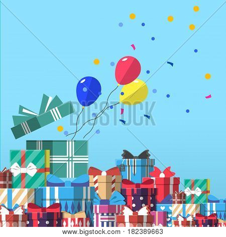 Happy birthday greeting card design vector illustration. Birthday banner with present box in flat design. Party invitation or holiday event congratulation with colorful gift box, confetti, balloon