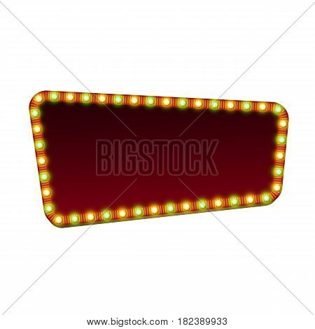 Quadrangle red street marquee sign with lights and blank space for text. Vector illustration.