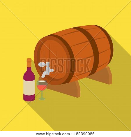Wooden wine barrel icon in flat design isolated on white background. France country symbol stock vector illustration. - stock vector